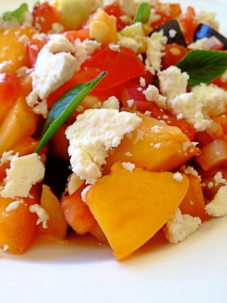 peaches in summer salad