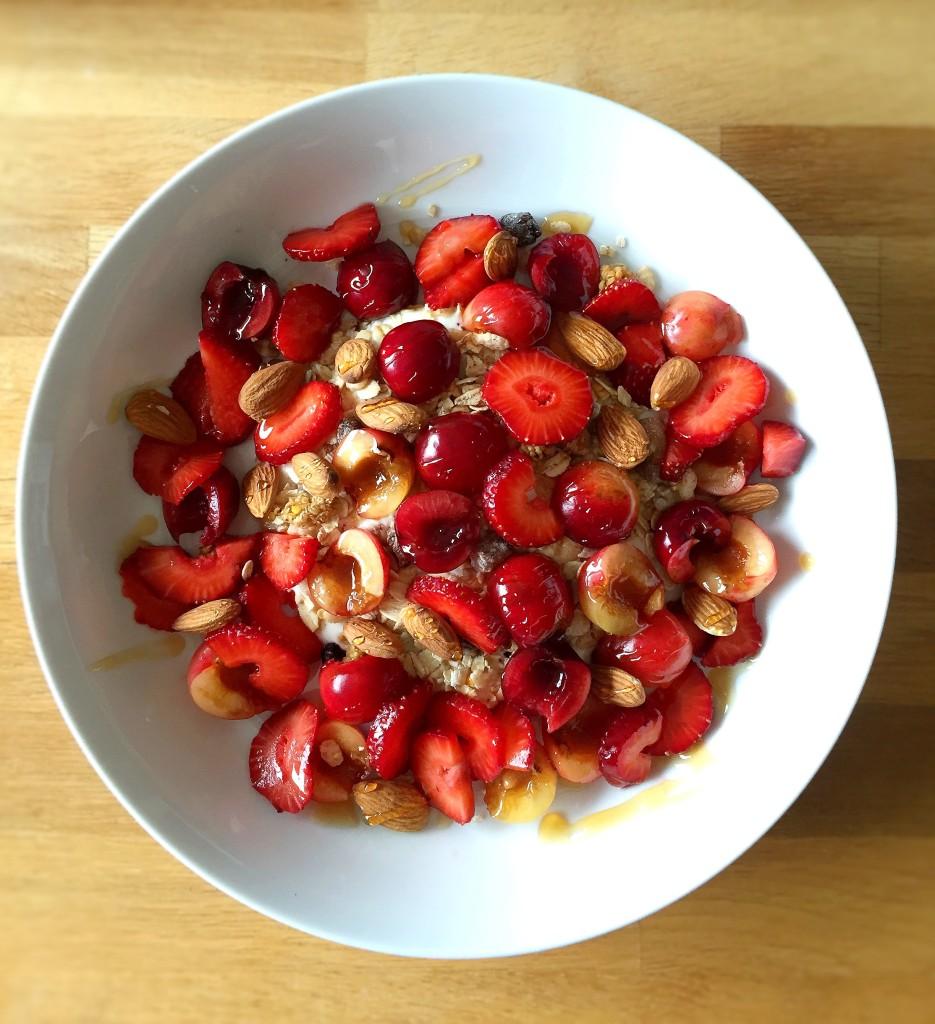 mixed cherries and strawberry muesli with almonds