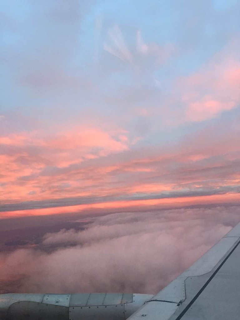 heading east during sunset